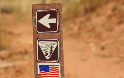 U.S. Department of the Interior Bureau of Land Management trail marker is shown along the Arch Canyon trail in Bears Ears National Monument, New Mexico, U.S., October 27, 2017. REUTERS/Andrew Cullen
