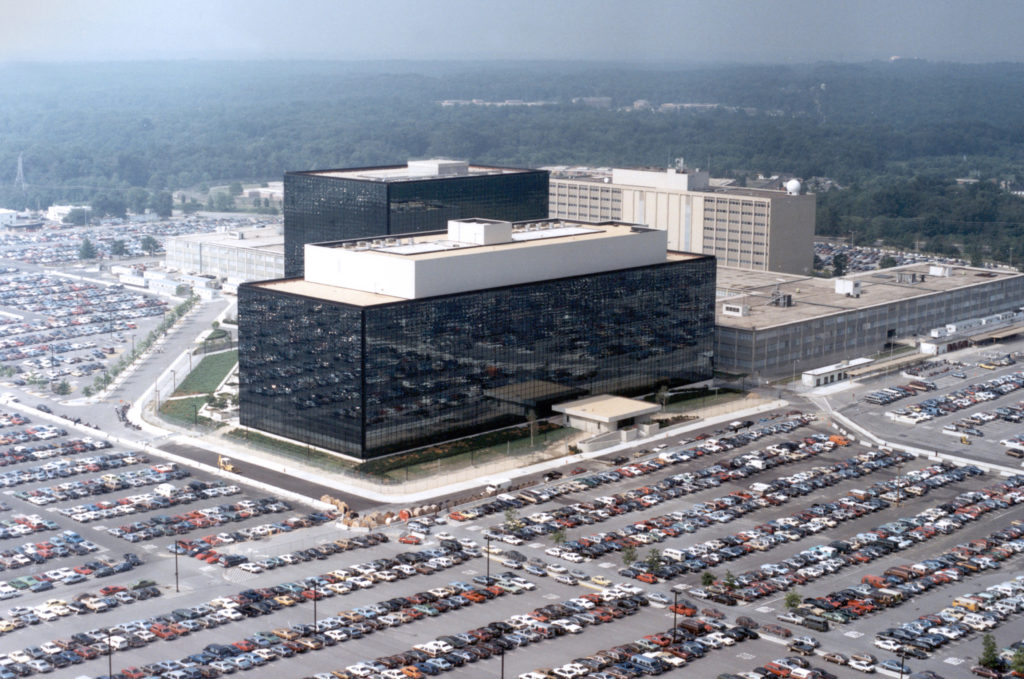 An undated aerial handout photo shows the National Security Agency headquarters building in Fort Meade, Maryland. NSA/Handout via Reuters