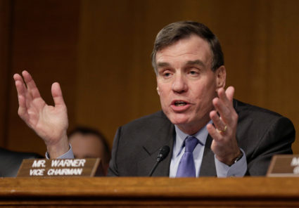 Sen. Mark Warner (D-Va.) questions witnesses during a Senate Select Committee on Intelligence hearing in the ongoing Russia probe in Washington, D.C. Photo by Joshua Roberts/Reuters