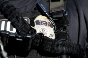 The badge of a U.S. Immigration and Customs Enforcement's (ICE) Fugitive Operations team is seen in Santa Ana, California, U.S., May 11, 2017. Photo by Lucy Nicholson/Reuters