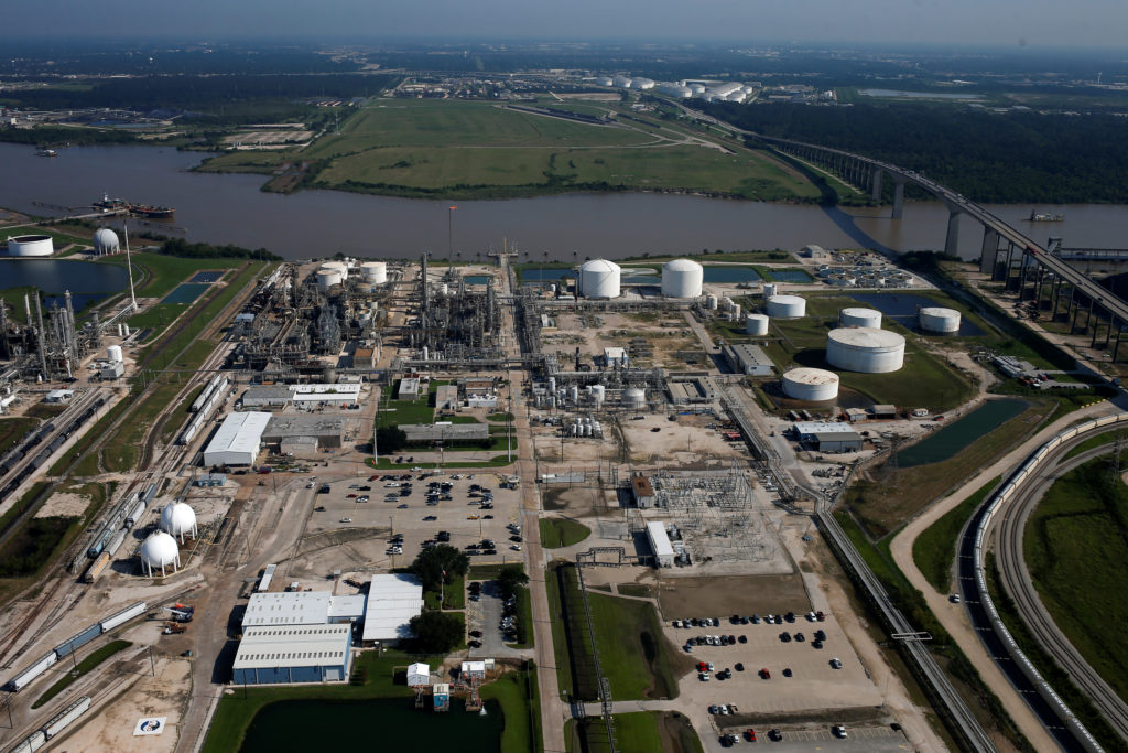 An aerial view of INEOS Phenol and the Sam Houston Ship Channel Bridge is seen in Pasadena, Texas