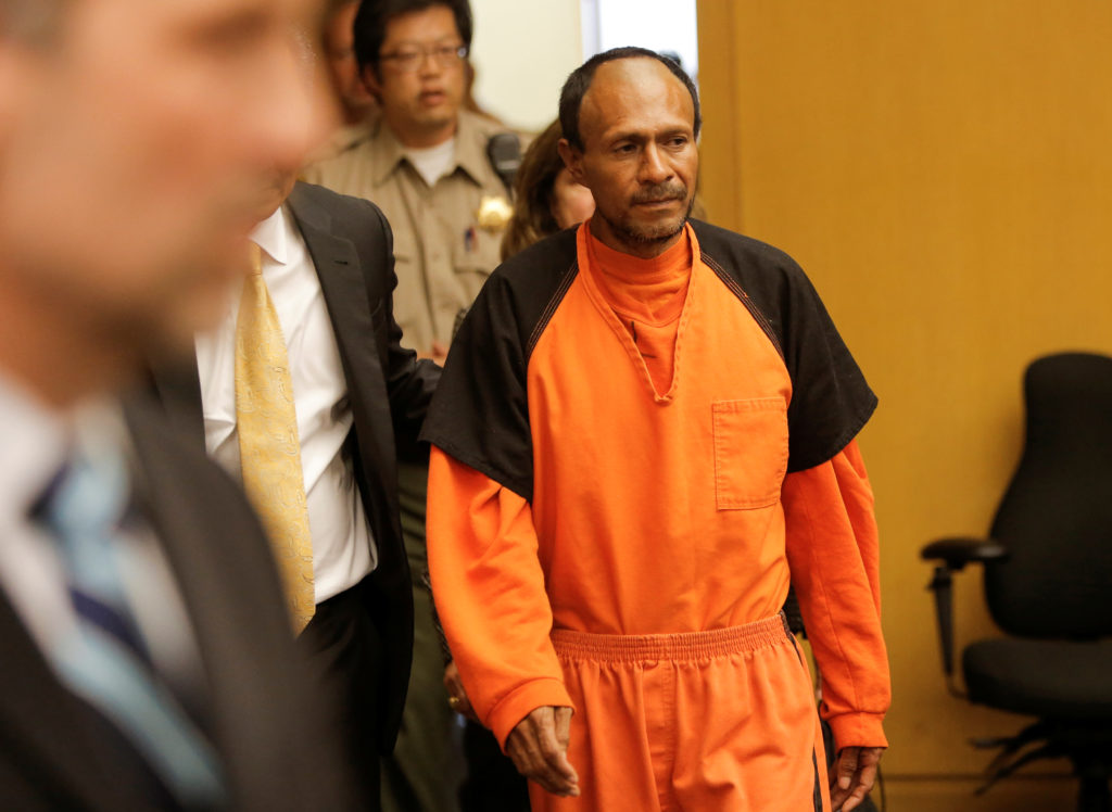 Jose Ines Garcia Zarate, arrested in connection with the July 1, 2015, shooting of Kate Steinle on a pier in San Francisco is led into the Hall of Justice for his arraignment in San Francisco, California, U.S. on July 7, 2015. Photo by Michael Macor/REUTERS
