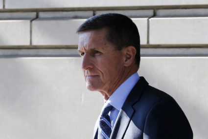 Former U.S. National Security Adviser Michael Flynn departs U.S. District Court, where he was expected to plead guilty to lying to the FBI about his contacts with Russia's ambassador to the United States, in Washington, U.S., December 1, 2017. REUTERS/Jonathan Ernst - HP1EDC11BGWBF