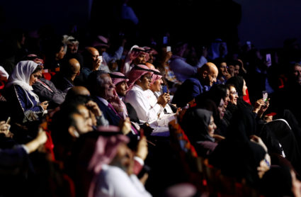 Saudi people attend the concert of composer Yanni in Riyadh, Saudi Arabia on Dec. 3. Photo by Faisal Al Nasser/Reuters