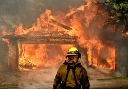 Firefighters battle the Creek Fire in the San Fernando Valley north of Los Angeles on Dec. 5. Photo by Gene Blevins/Reuters