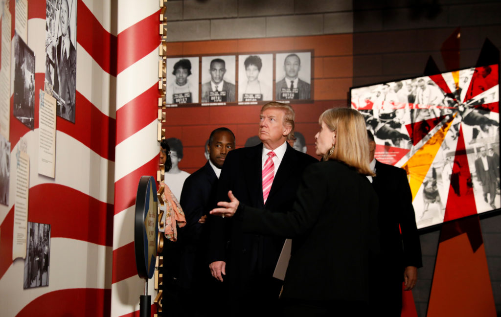 U.S. President Donald Trump visits the Civil Rights Museum in Jackson, Mississippi