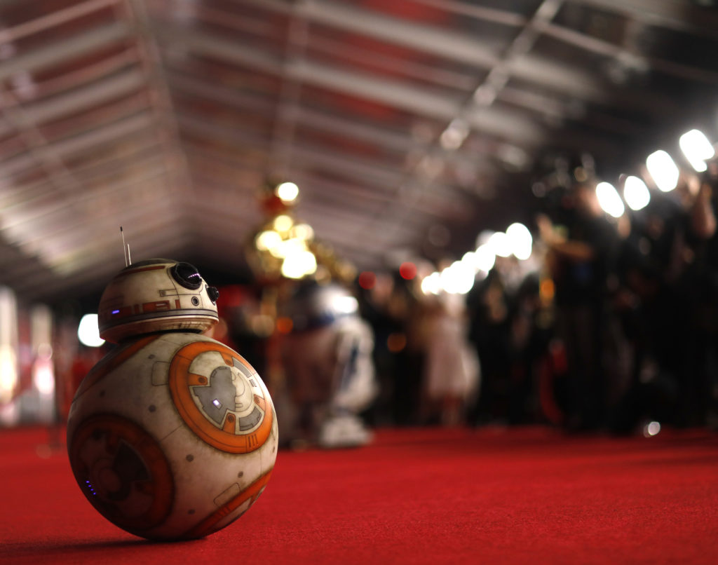 "The droid BB8 rolls the red carpet at the world premiere of ""Star Wars: The Last Jedi"" in Los Angeles, California on Dec. 10. Photo by Mario Anzuoni/Reuters"