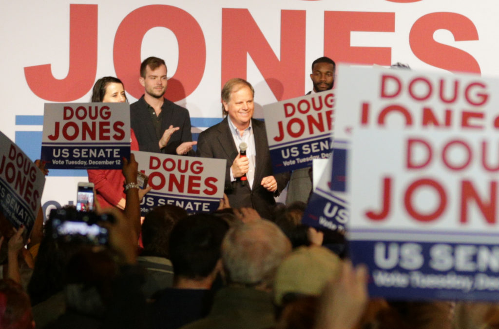 Democratic Alabama Senate candidate Doug Jones speaks to his supporters during a rally at Old Car Heaven in Birmingham, Alabama. Photo by Marvin Gentry/Reuters