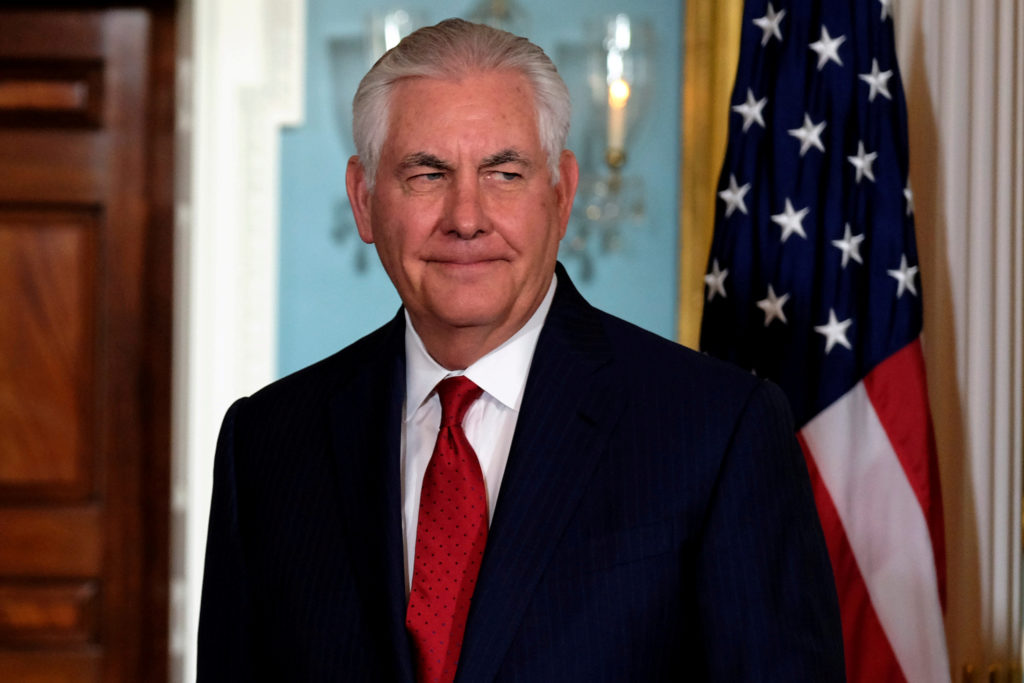 File photo of Secretary of State Rex Tillerson by James Lawler Duggan/Reuters