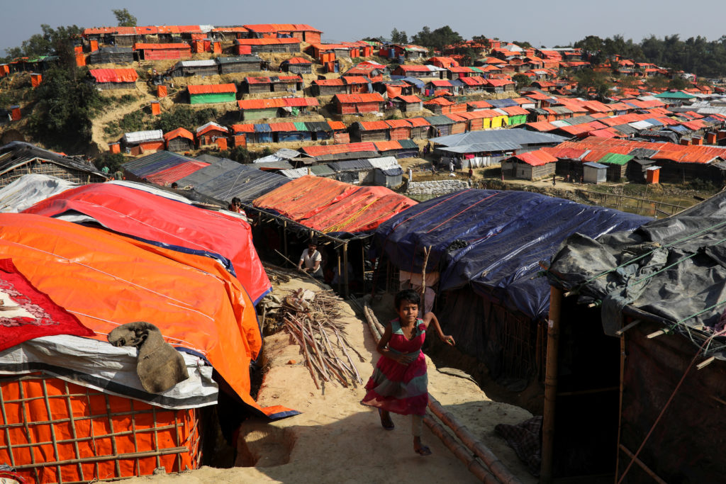 The temporary shelters are made with bamboo frames covered by tarpaulins at the Balukhali refugee camp near Cox's Bazar, Bangladesh. Photo by Marko Djurica/Reuters