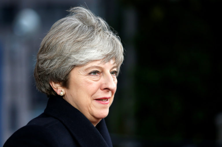 Britain's PM May arrives to attend a EU leaders summit in Brussels