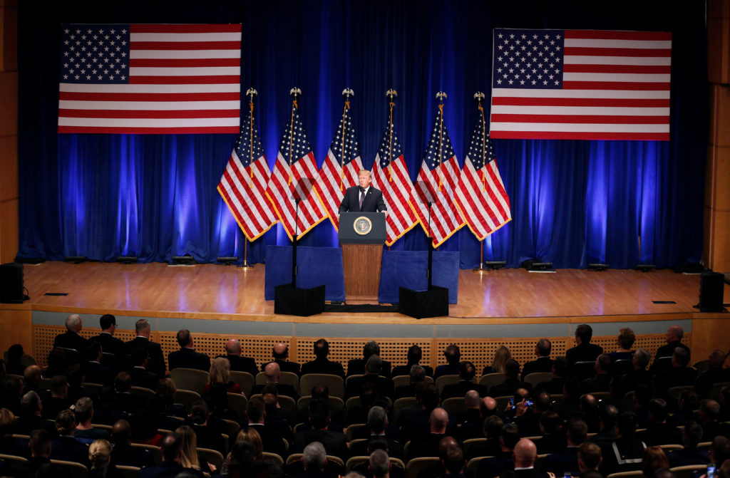 U.S. President Donald Trump delivers remarks regarding the Administration's National Security Strategy at the Ronald Reaga...