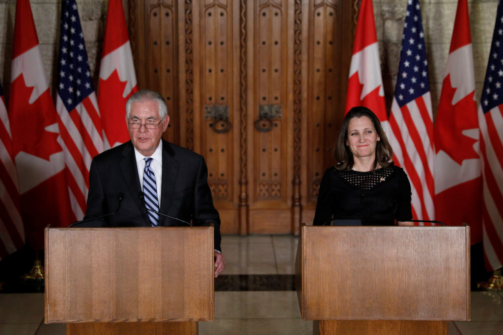 U.S. Secretary of State Rex Tillerson and Canada's Foreign Minister Chrystia Freeland take part in a news conference on Parliament Hill in Ottawa, Ontario, Canada, on Dec. 19. Photo by Blair Gable/Reuters