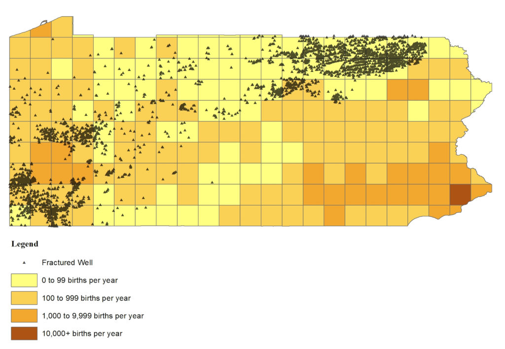 Locations of births (yellow to brown shading) and fractured wells (black triangles) in Pennsylvania. Map by Currie, Greenstone, Meckel, Sci. Adv. 2017;3: e1603021