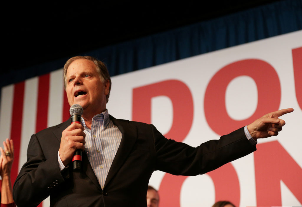 Democratic Alabama U.S. Senate candidate Doug Jones speaks to his supporters during a rally at Old Car Heaven in Birmingham, Alabama, U.S. December 11, 2017. Photo by Marvin Gentry/REUTERS