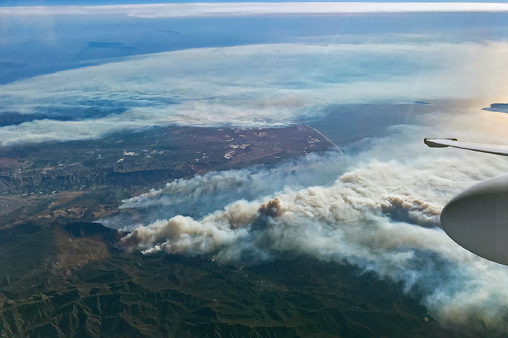 "The Thomas Fire from the cockpit of NASA's high-flying ER-2 aircraft, on Dec. 5, 2017. Photo by Donald ""Stu"" Broce/Armstrong Flight Research Center"