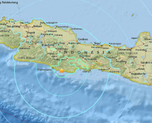 A map of Java island provided by the U.S. Geological Survey that shows the estimated epicenter of today's earthquake.