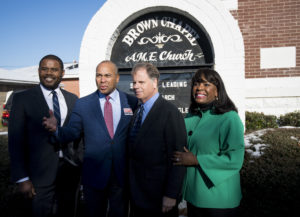 UNITED STATES - DECEMBER 9: From left, Selma Mayor Darrio Melton, former Gov. Deval Patrick, D-Mass., Democratic candidate for Senate Doug Jones, and Rep. Terri Sewell, D-Ala., pose for photos outside of the Brown Chapel AME Church in Selma, Ala., on Saturday, Dec. 9, 2017, after holding a media availability at the iconic civil rights church. (Photo By Bill Clark/CQ Roll Call)