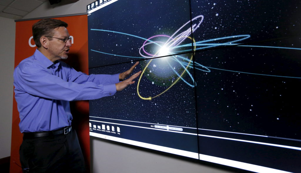 Professor of Planetary Astronomy Mike Brown speaks in front of a computer simulation of the probable orbit of Planet Nine (yellow) at the California Institute of Technology in Pasadena, California January 20, 2016. The solar system may host a ninth planet that is about 10 times bigger than Earth and orbiting far beyond Neptune, according to research published on Wednesday. REUTERS/Mario Anzuoni - GF20000101418