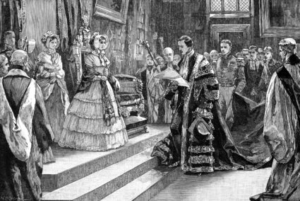 Presentation to the Queen, c1850s, (1900). Prince Albert, who was Chancellor of Cambridge University from 1847 until his death in 1861, presenting an address to his wife, Queen Victoria. Illustration from The life and times of Queen Victoria by Robert Wilson, (1900). (Photo by The Print Collector/Print Collector/Getty Images)