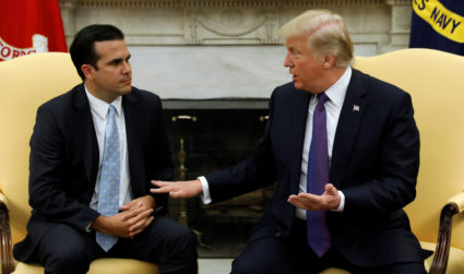 U.S. President Donald Trump meets with Puerto Rico Governor Ricardo Rossello in the Oval Office of the White House in Washington, U.S., October 19, 2017. REUTERS/Kevin Lamarque - RC158B217710