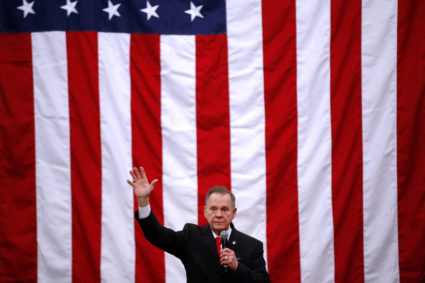 Republican candidate for U.S. Senate Judge Roy Moore speaks during a campaign rally in Midland City, Alabama, U.S., December 11, 2017. Photo by Jonathan Bachman/REUTERS