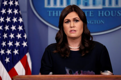 White House Press Secretary Sarah Huckabee Sanders holds the daily briefing at the White House in Washington, D.C. Photo by Jonathan Ernst/Reuters