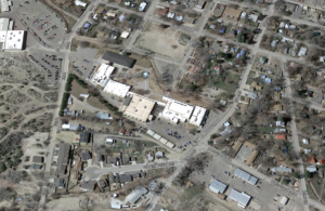 An aerial view of Aztec High School, in Aztec, New Mexico.
