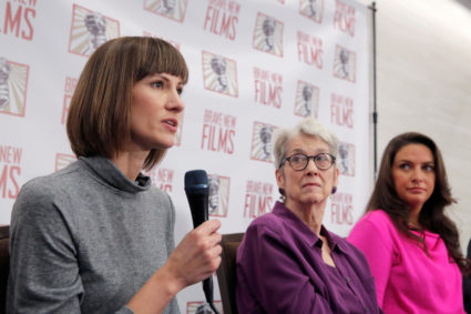 "(L-R) Rachel Crooks, a former receptionist in Trump Tower in 2005, Jessica Leeds and Samantha Holvey, a former Miss North Carolina, speak at news conference for the film ""16 Women and Donald Trump"" which focuses on women who have publicly accused President Trump of sexual misconduct, in Manhattan, New York, U.S., December 11, 2017. REUTERS/Andrew Kelly - RC1FFA65CC80"