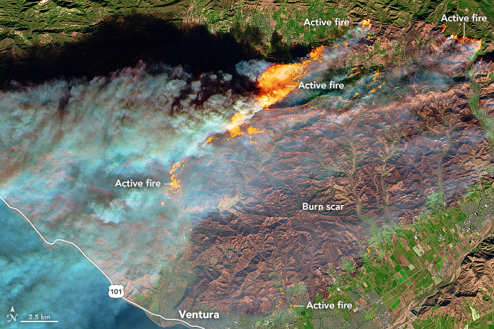 The fires mainly affected a forested, hilly area north of Ventura, but flames have encroached into the northern edge of the city. On December 6, 2017, Cal Fire estimated that at least 12,000 structures were threatened by fire. Photo by NASA Earth Observatory (acquired Dec. 5, 2017)