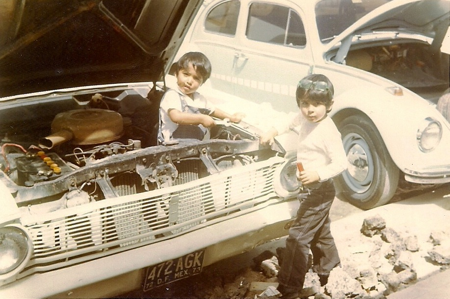 "Paulo Lozano (left) grew up in Mexico, where he tinkered at an early age. His interest in space began with Carl Sagan's ""Cosmos"" series and thanks to a telescope gifted by his parents. He built model airplanes and rocket launchers, which eventually led him to study chemical propulsion in graduate school at MIT. Photo courtesy of Paulo Lozano"