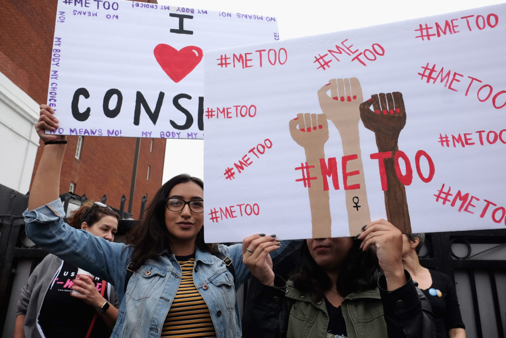 HOLLYWOOD, CA - NOVEMBER 12: Activists participate in the Take Back The Workplace March and #MeToo Survivors March & Rally on November 12, 2017 in Hollywood, California. (Photo by Sarah Morris/Getty Images)