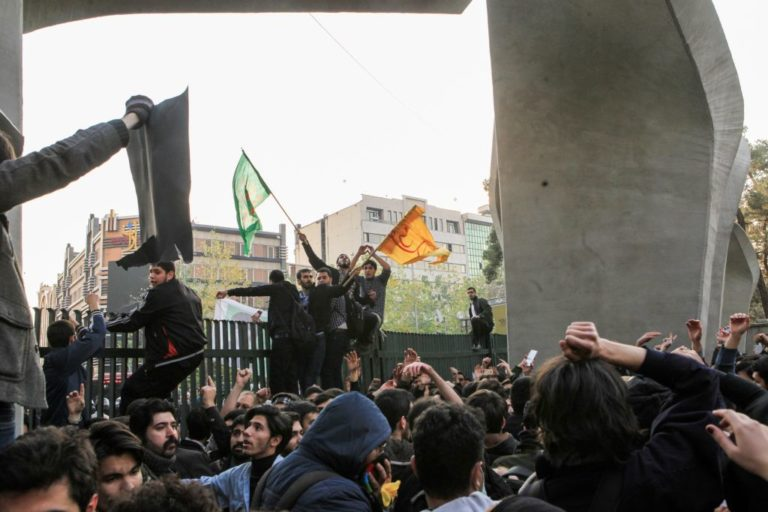 People protest high cost of living in Tehran, Iran, on Dec. 30. Photo by Stringer/Anadolu Agency/Getty Images