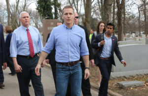 Vice President Mike Pence and Missouri Gov. Eric Greitens walk through the Chesed Shel Emeth Cemetery in University City, Mo., on Wednesday, Feb. 22, 2017. Photo by J.B. Forbes/St. Louis Post-Dispatch/TNS via Getty Images