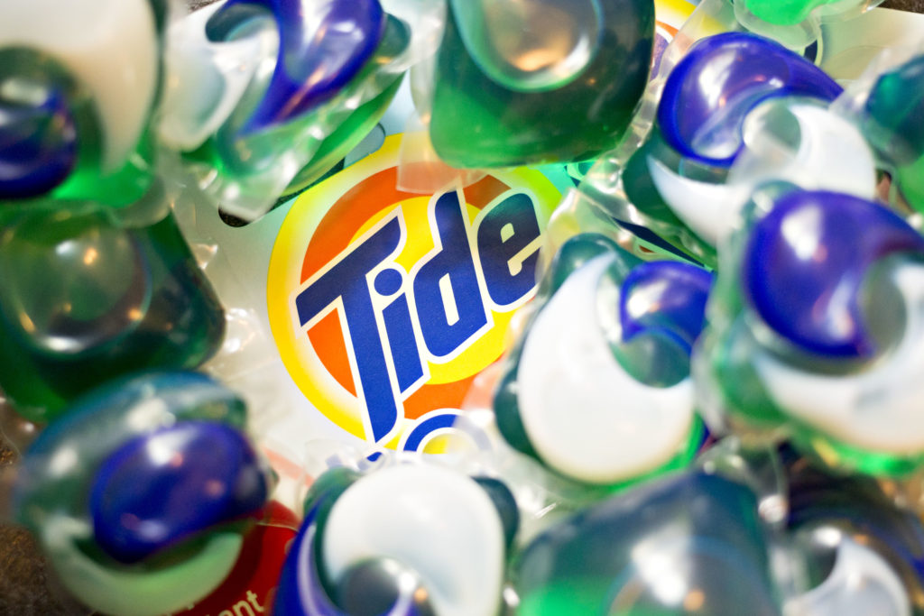Procter & Gamble Co. Tide Pods brand laundry detergent is arranged for a photograph in Tiskilwa, Illinois, U.S., on Monday...