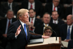 WASHINGTON, DC - JANUARY 30: U.S. President Donald J. Trump delivers the State of the Union address in the chamber of the U.S. House of Representatives January 30, 2018 in Washington, DC. This is the first State of the Union address given by U.S. President Donald Trump and his second joint-session address to Congress. (Photo by Mark Wilson/Getty Images)
