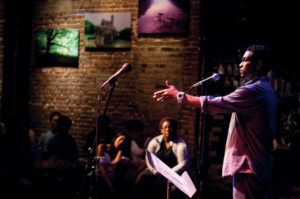 Poetry Slam at the Nuyorican Poets Cafe in New York. Photo courtesy of Daniel Gallant