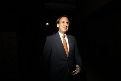Former Minnesota Governor Tim Pawlenty arrives in the Spin Room after a Republican presidential candidate debate in Charleston, South Carolina. Photo by Eric Thayer/Reuters