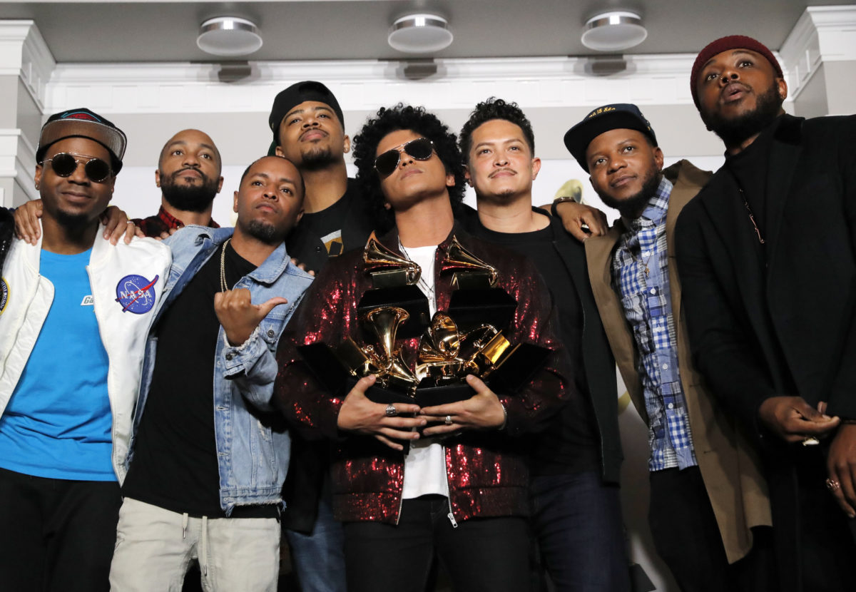 Bruno Mars took home six Grammys at Sunday night's awards show, which nominated more hip-hop or R&B artists than ever before. Photo by Andrew Kelly/Reuters