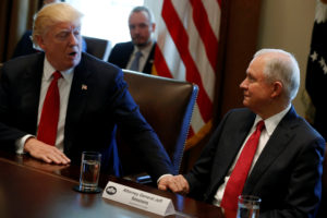 Sessions joins Trump for an opioid and drug abuse listening session at the White House in Washington