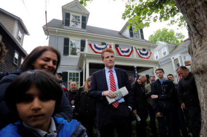 U.S. Congressman Joe Kennedy III waits to speak at ceremonies on the 100th anniversary of the birth of Congressman Kennedy's great-uncle, U.S. President John F. Kennedy, outside the home where President Kennedy was born, in Brookline, Massachusetts, U.S., May 29, 2017. REUTERS/Brian Snyder - RC19CF2865D0