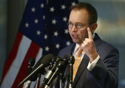 Office of Management and Budget (OMB) Director Mick Mulvaney speaks to the media at the Consumer Financial Protection Bureau (CFPB) in November, where he began work earlier in the day after being named acting director by President Donald Trump in Washington, D.C. Photo by Joshua Roberts/Reuters