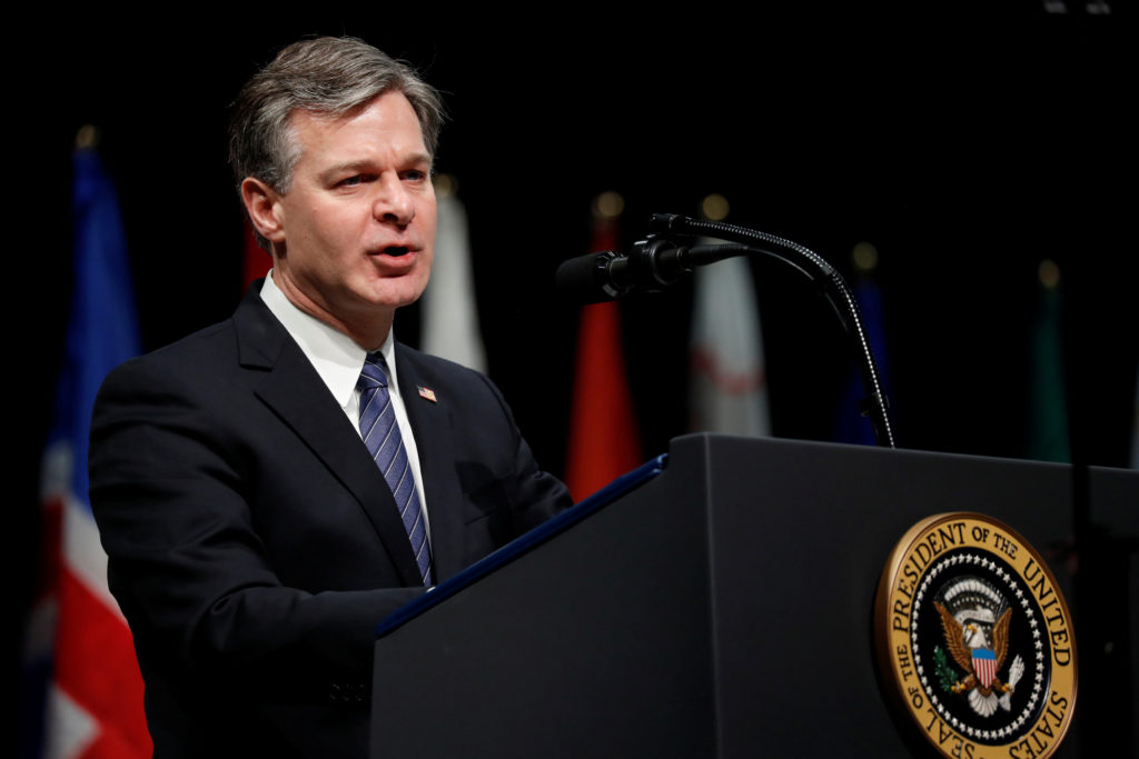 File photo of FBI Director Christopher Wray by Jonathan Ernst/Reuters