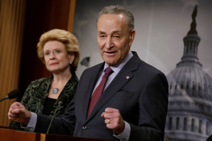 Senate Minority Leader Chuck Schumer (D-New York) speaks about the Children's Health Insurance Program (CHIP) at a news conference on Capitol Hill in Washington, D.C. Photo by Yuri Gripas/Reuters