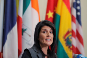 U.S. Ambassador to the United Nations Nikki Haley speaks at UN headquarters in New York, U.S., January 2, 2018. Photo by Lucas Jackson/Reuters