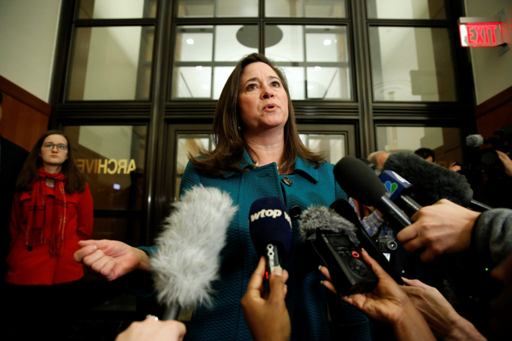 Democrat Shelly Simonds speaks after losing a random drawing by the Virginia Department of Elections to determine the winner of the 94th House of Delegates District Seat after a recount of the Nov. 7 election left the race tied in Richmond, Virginia, U.S., January 4, 2018. REUTERS/Joshua Roberts - RC13D497D400