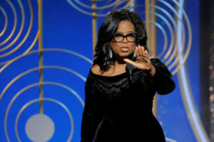 Oprah Winfrey speaks after accepting the Cecil B. Demille Award at the 75th Golden Globe Awards in Beverly Hills, California, U.S. January 7, 2018. Paul Drinkwater/Courtesy of NBC/Handout via REUTERS