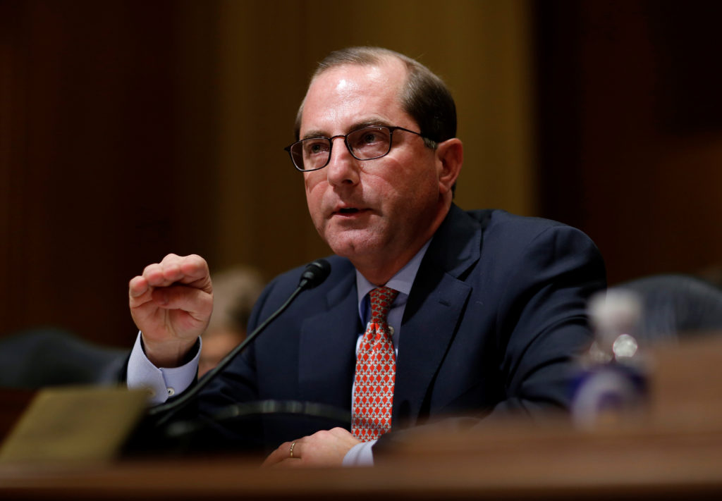 Alex Azar testifies before the Senate Finance Committee on his nomination to be Health and Human Services secretary in Washington, D.C. Photo by Joshua Roberts/Reuters