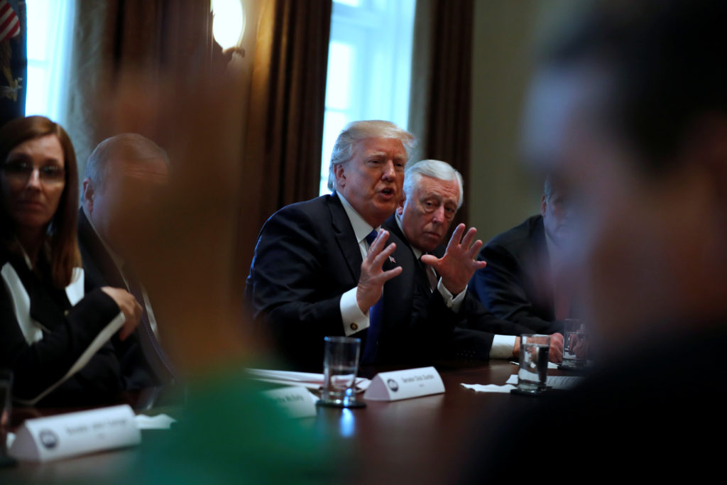 U.S. President Donald Trump holds a bipartisan meeting with legislators on immigration reform at the White House in Washington, U.S. January 9, 2018. REUTERS/Jonathan Ernst - RC1ECEE78750