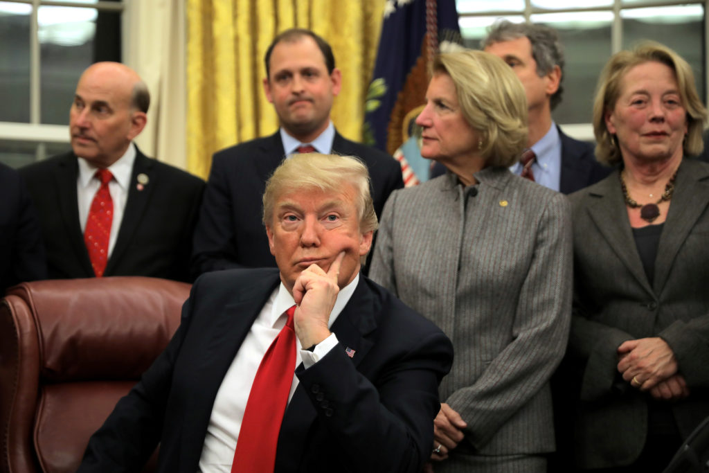 U.S. President Donald Trump attends a signing ceremony for the Interdict Act into law, to provide Customs and Border Protection agents with the latest screening technology on the fight against the opioid crisis, in the Oval Office of the White House in Washington D.C., U.S., January 10, 2018. REUTERS/Carlos Barria TPX IMAGES OF THE DAY - RC1DCD610880